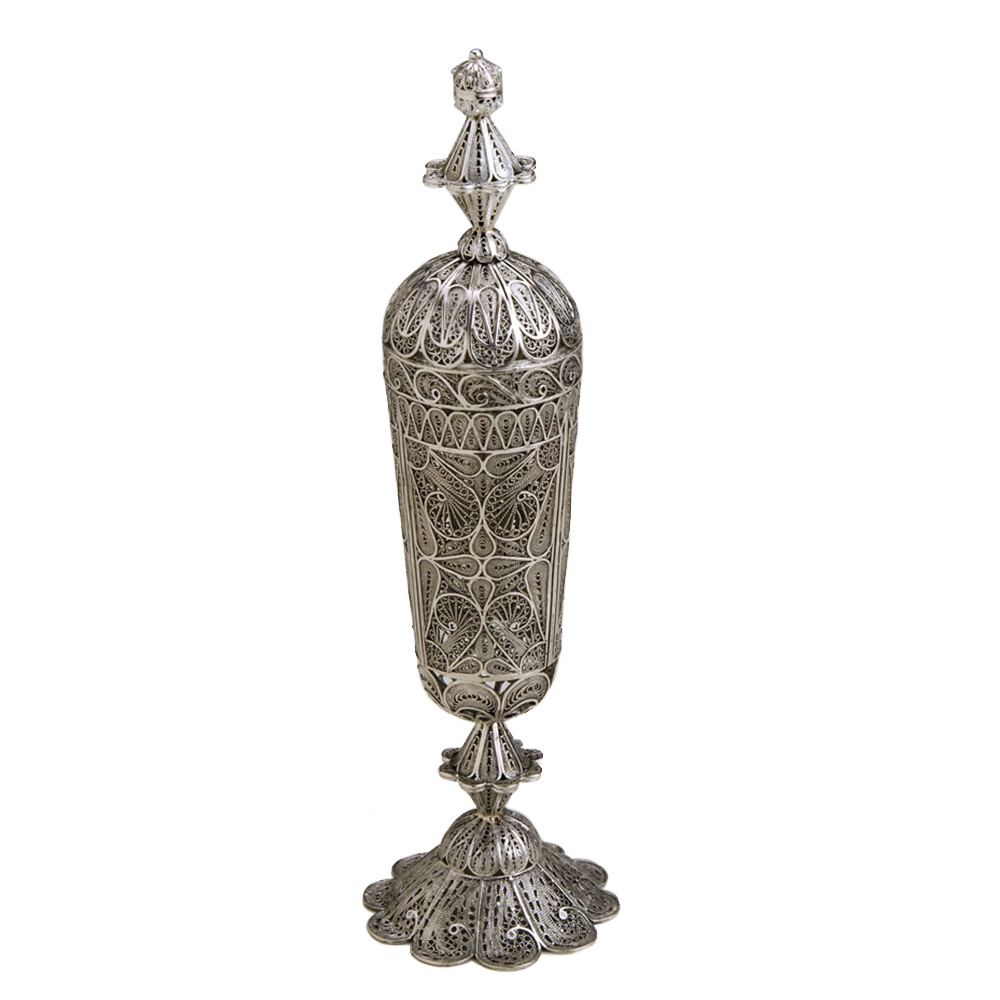 Tall Sterling Silver Besamim Holder for Havdala with Crown - Baltinester Jewelry