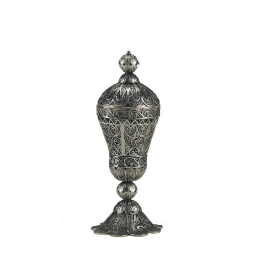 Tall Round Sterling Silver Besamim Holder for Havdala - Baltinester Jewelry