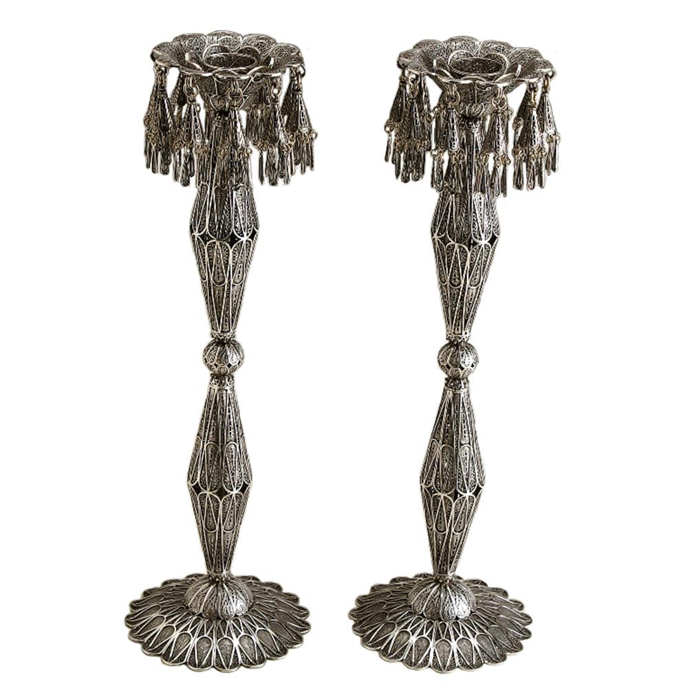 Geometric Silver Filigree Candlesticks - Baltinester Jewelry
