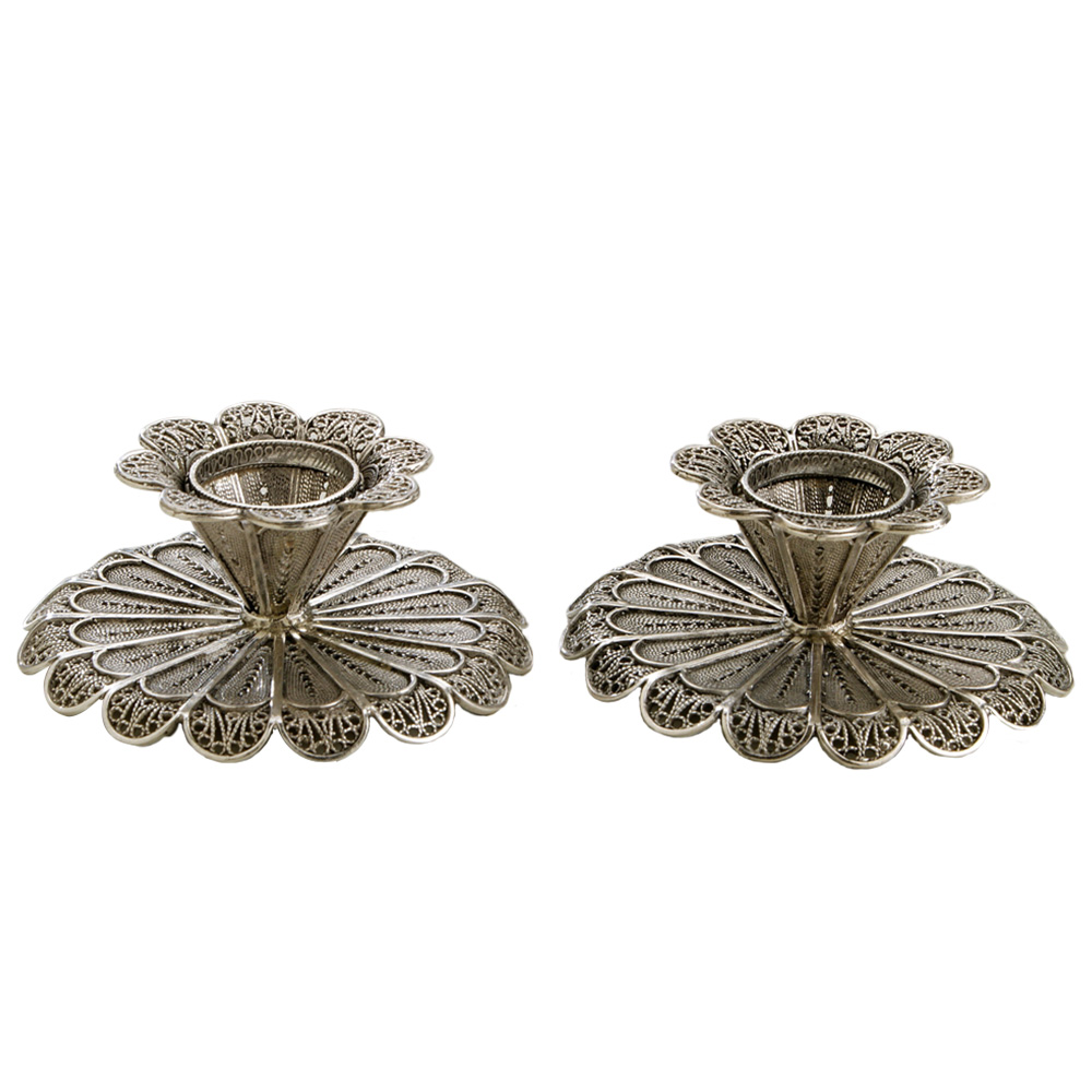 Short Filigree Silver Candlestick Holders - Baltinester Jewelry