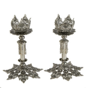 Ornate Sterling Silver Candlesticks - Baltinester Jewelry