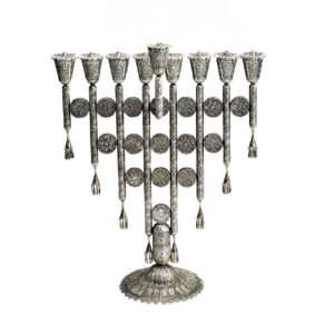 Sterling Silver Menorah with Filigree Discs - Baltinester Jewelry