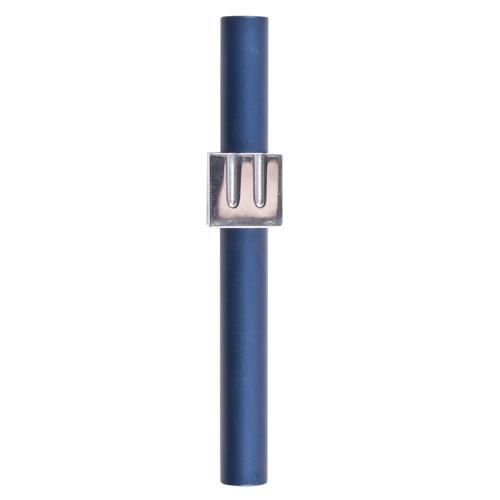 Minimalist Shin Mezuzah - Blue - Baltinester Jewelry