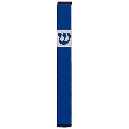 Traditional Rectangle Shin Mezuzah (Small) - Blue - Baltinester Jewelry