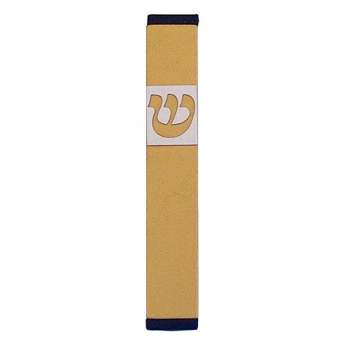 Traditional Rectangle Shin Mezuzah (Small) - Gold - Baltinester Jewelry