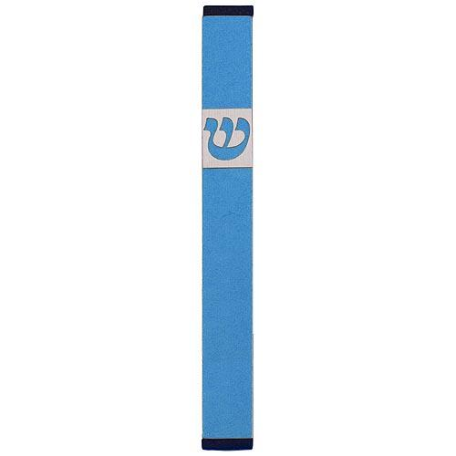 Traditional Rectangle Shin Mezuzah (Small) - Teal - Baltinester Jewelry