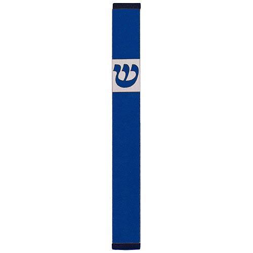 Traditional Rectangle Shin Mezuzah (Large) - Blue - Baltinester Jewelry