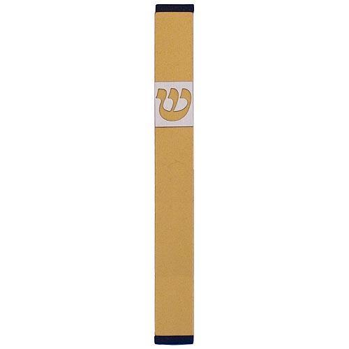 Traditional Rectangle Shin Mezuzah (Large) - Gold - Baltinester Jewelry