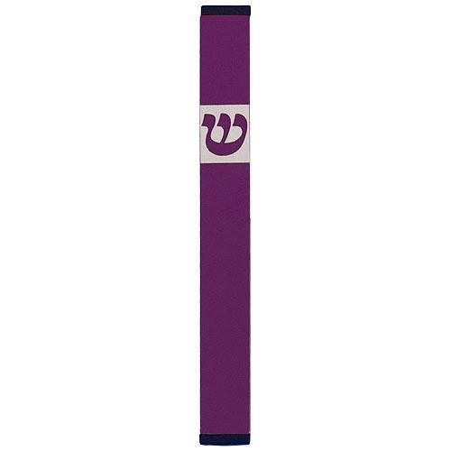 Traditional Rectangle Shin Mezuzah (Large) - Purple - Baltinester Jewelry