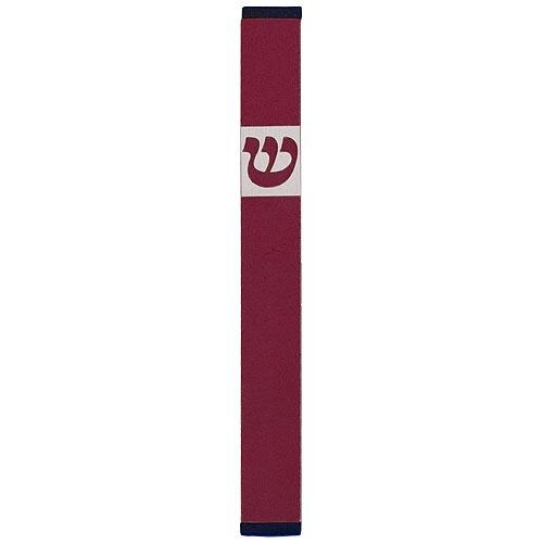 Traditional Rectangle Shin Mezuzah (Large) - Red - Baltinester Jewelry