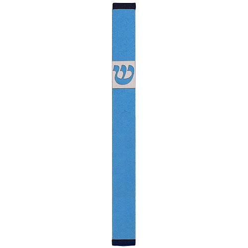 Traditional Rectangle Shin Mezuzah (Large) - Teal - Baltinester Jewelry