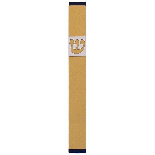 Traditional Rectangle Shin Mezuzah (XL) - Gold - Baltinester Jewelry