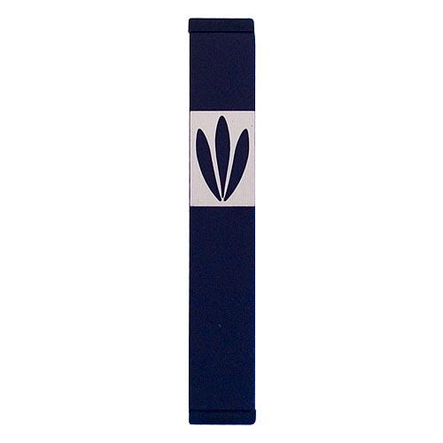 Shin Mezuzah With Leaves Design (Small) - Black - Baltinester Jewelry