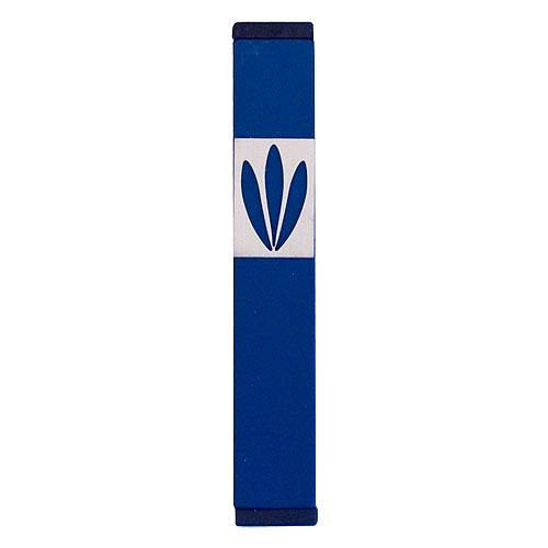 Shin Mezuzah With Leaves Design (Small) - Blue - Baltinester Jewelry