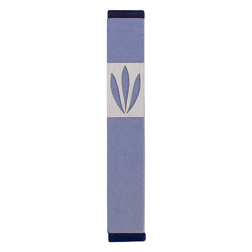 Shin Mezuzah With Leaves Design (Small) - Gray - Baltinester Jewelry
