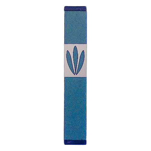 Shin Mezuzah With Leaves Design (Small) - Green - Baltinester Jewelry