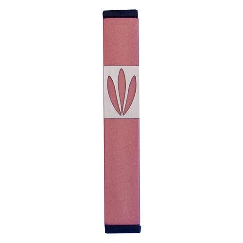Shin Mezuzah With Leaves Design (Small) - Pink - Baltinester Jewelry