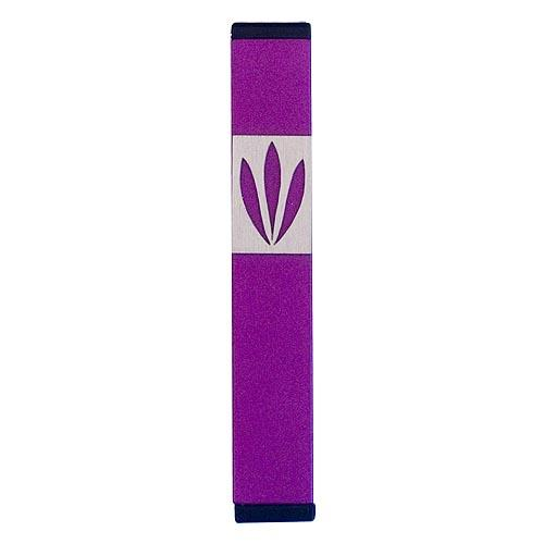 Shin Mezuzah With Leaves Design (Small) - Purple - Baltinester Jewelry