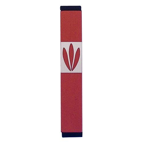 Shin Mezuzah With Leaves Design (Small) - Red - Baltinester Jewelry