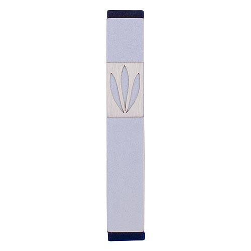 Shin Mezuzah With Leaves Design (Small) - Silver - Baltinester Jewelry