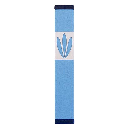 Shin Mezuzah With Leaves Design (Small) - Teal - Baltinester Jewelry