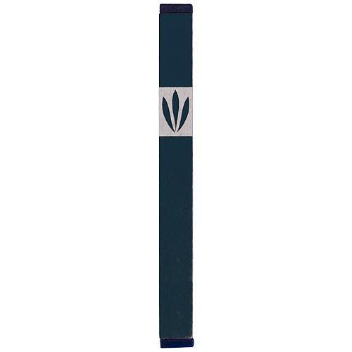 Shin Mezuzah With Leaves Design (Medium) - Green - Baltinester Jewelry