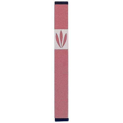 Shin Mezuzah With Leaves Design (Medium) - Pink - Baltinester Jewelry