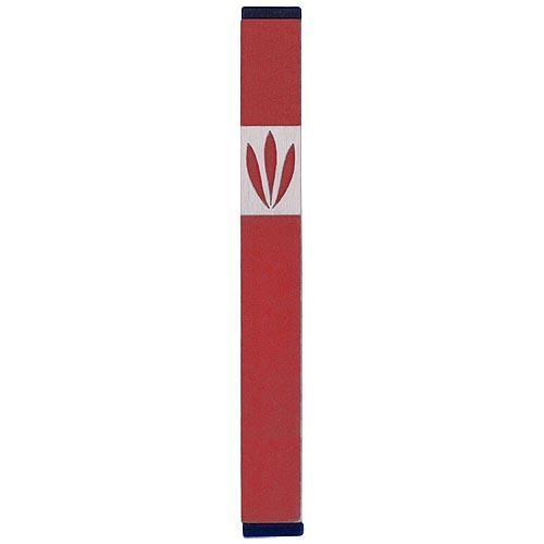 Shin Mezuzah With Leaves Design (Medium) - Red - Baltinester Jewelry