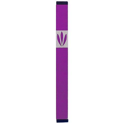 Shin Mezuzah With Leaves Design (Medium) - Purple - Baltinester Jewelry