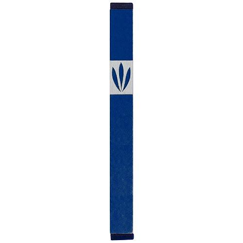 Shin Mezuzah With Leaves Design (Large) - Blue - Baltinester Jewelry