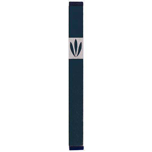 Shin Mezuzah With Leaves Design (Large) - Green - Baltinester Jewelry