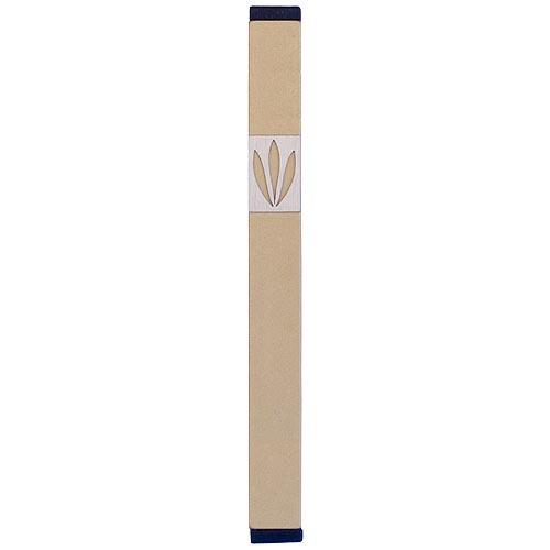 Shin Mezuzah With Leaves Design (XL) - Gold - Baltinester Jewelry