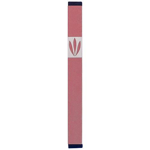 Shin Mezuzah With Leaves Design (XL) - Pink - Baltinester Jewelry