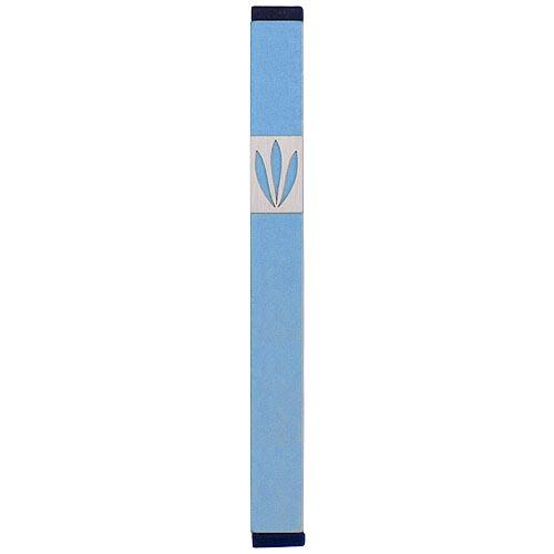 Shin Mezuzah With Leaves Design (XL) - Teal - Baltinester Jewelry