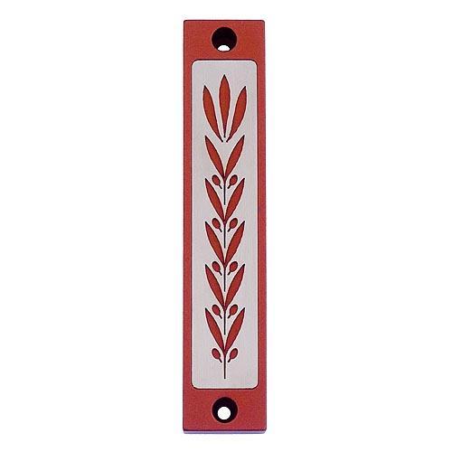 Wheat Prosperity Mezuzah - Red - Baltinester Jewelry