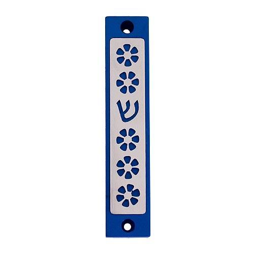 Flower Mezuzah - Blue - Baltinester Jewelry