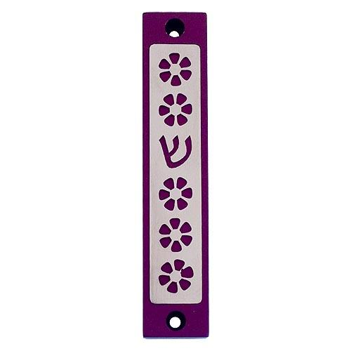 Flower Mezuzah - Purple - Baltinester Jewelry