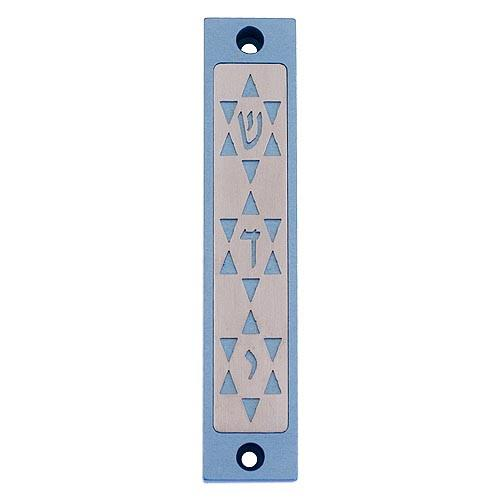 Three Stars Shaddai Mezuzah - Teal - Baltinester Jewelry