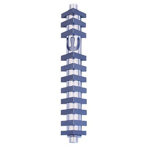 Triangle Stripes Mezuzah (Medium) - Gray - Baltinester Jewelry