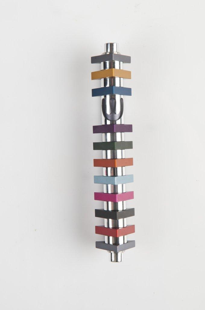 Triangle Stripes Mezuzah (Medium) - Multi - Baltinester Jewelry