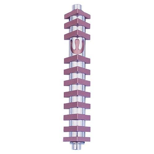 Triangle Stripes Mezuzah (Medium) - Pink - Baltinester Jewelry