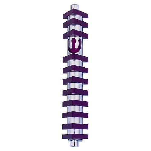 Triangle Stripes Mezuzah (Medium) - Purple - Baltinester Jewelry