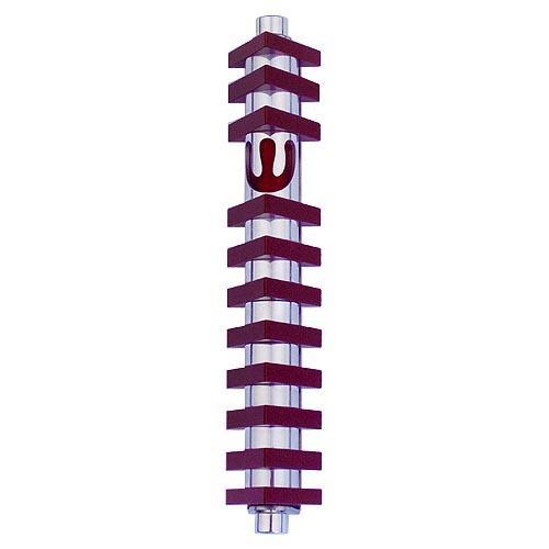 Triangle Stripes Mezuzah (Medium) - Red - Baltinester Jewelry