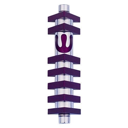 Triangle Stripes Mezuzah (Small) - Purple - Baltinester Jewelry
