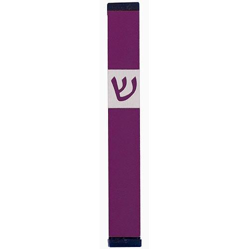 Classic Shin Mezuzah (Medium) - Purple - Baltinester Jewelry