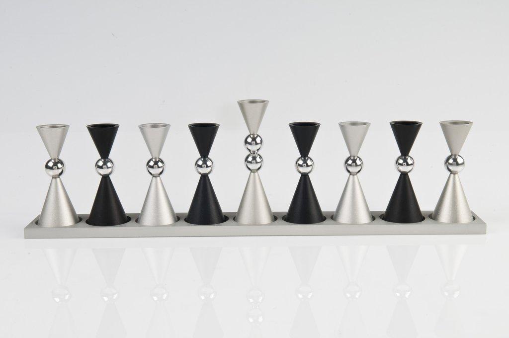 Contemporary Mini Ball Menorah - Black - Baltinester Jewelry