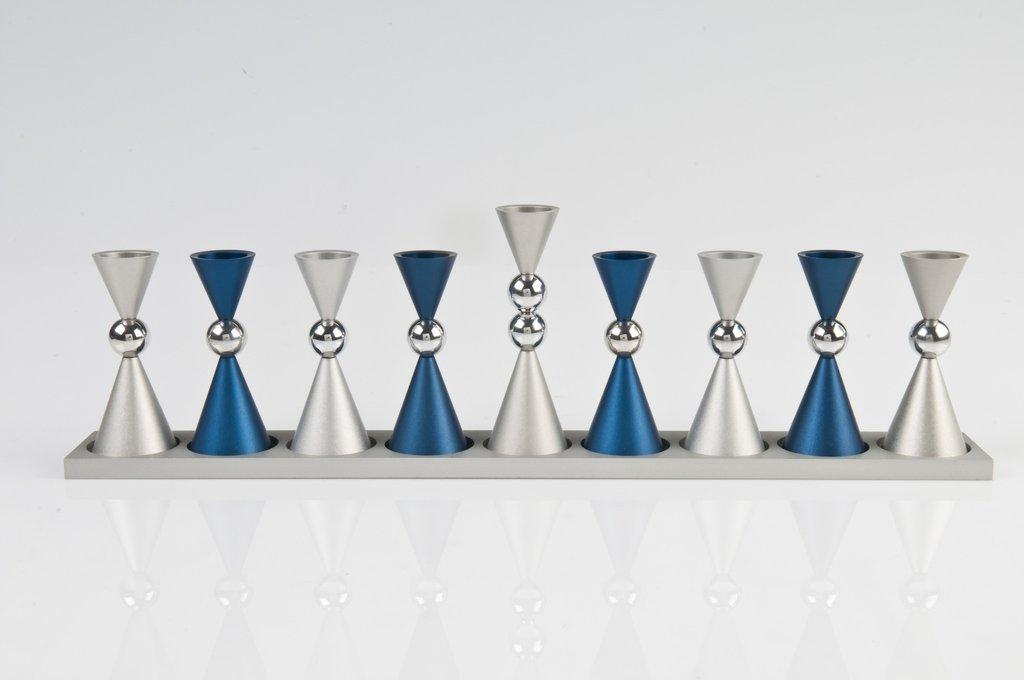 Contemporary Mini Ball Menorah - Blue - Baltinester Jewelry