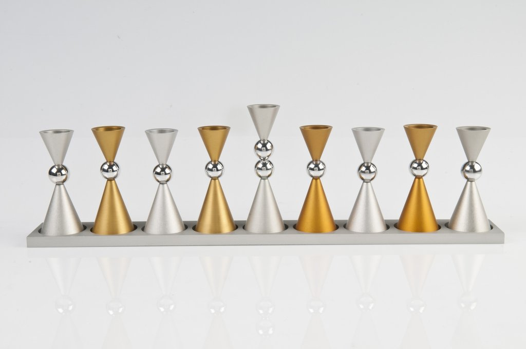 Contemporary Mini Ball Menorah - Gold - Baltinester Jewelry