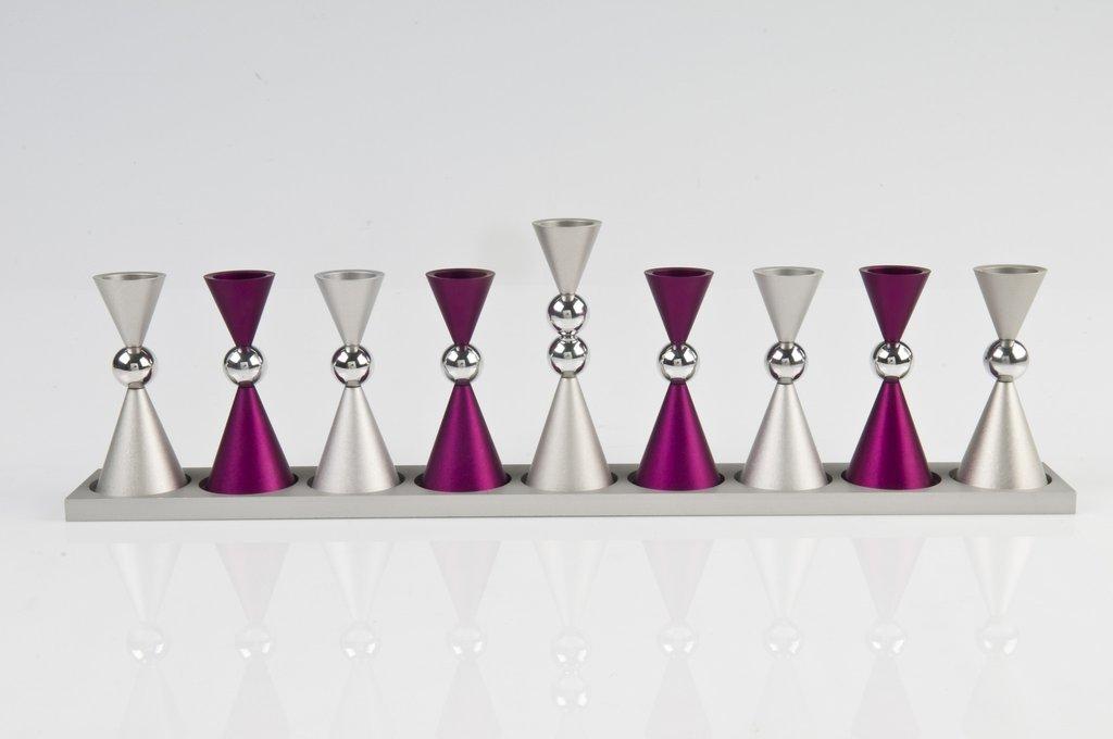 Contemporary Mini Ball Menorah - Purple - Baltinester Jewelry
