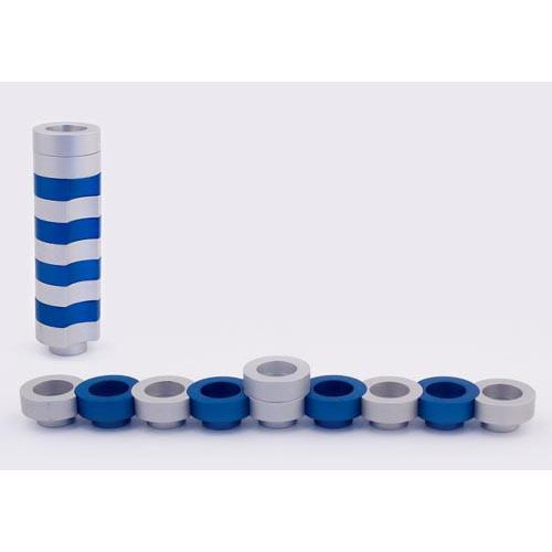Stackable Round Menorah for Travel - Blue - Baltinester Jewelry